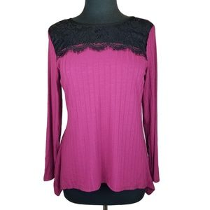 NY Collection Top Shirt Pink Black Lace Petite S